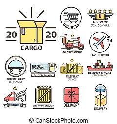 cobrança, logística, ícones, entrega, linear, expresso, despacho, rapidamente