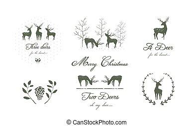 cobrança, natureza, deers, ou, elementos florais, abeto, silhuetas, desenho, laurel., renas, logotipo, árvores