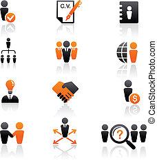 cobrança, recursos humanos, ícones
