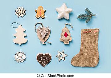 cobrança, snowflakes, natal, escarneça, above., design., lay., cima., botina, estrela, rena, burlap, modelo, vista, apartamento