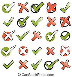cobrança, verde, checkmarks, e, vermelho, cruzes