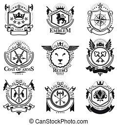 cobrança, vindima, heraldic, projetos, braços, vetorial, agasalho, emblems., set.
