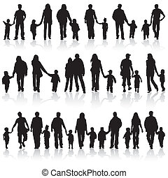 cobrar, silhuetas, família