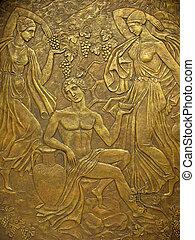 cobre, bajorrelieve, antiguo, base, mitos, griego