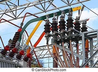 cobre, barras, potencia, electricidad, grande, transformador...