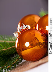 cobre, bolas, colorido, luminoso, brilhante, natal