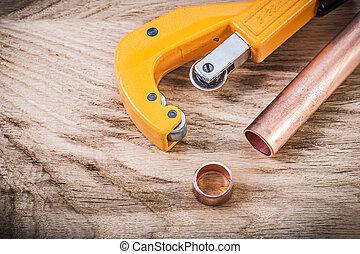cobre, brassware, madeira, cano de água, conc, tábua, encanamento, cortador