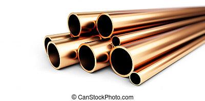 cobre, cano metal, branco, experiência., 3d, ilustrações