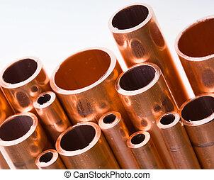 cobre, canos, diferente, diâmetro