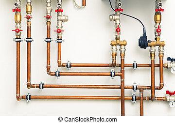 cobre, canos, em, boiler-room