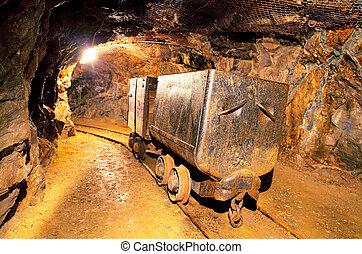 cobre, carritos, mina, oro, mina, tren, metro, plata