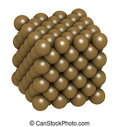 cobre, (cu), cristal, structure., metal