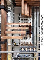 cobre, eléctrico, panel