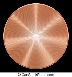 cobre, eps10., button., aislado, realista, vector