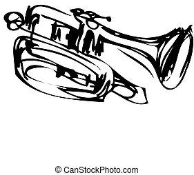 cobre, esboço, cornet, instrumento musical