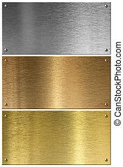 cobre, jogo, metal, isolado, pratos, prata, dourado