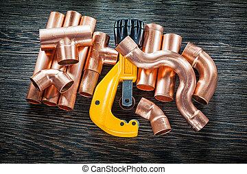 cobre, madeira, cano de água, tábua, encanamento, cortador