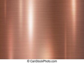 cobre, metal, textura, vector, ilustración, plano de fondo