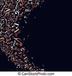 cobre, notas, conceito, música, fundo