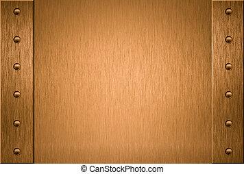 cobre, o, bronce, marco, con, remaches