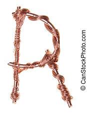 cobre, r, alambre, carta