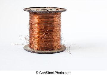cobre, recorte, alambre, senderos, aislado, carrete, plano de fondo, blanco, fondos