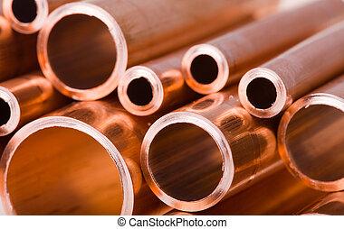 cobre, tubos, diferente, diámetro