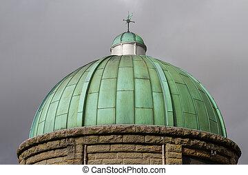 cobre, verdigris, cielo, cupula, cúpula, oscuro, verde