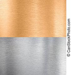 cobre, y, plata, metal, texturas