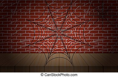 Cobweb illustration. Vector. On brick wall as background.