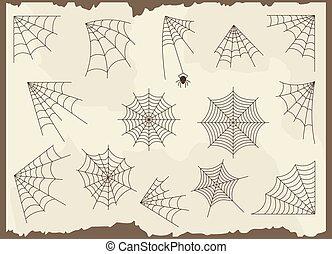 Cobweb vector set - Cobweb vector frame border set and...