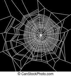 Cobweb. White on Black Background. Vector