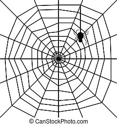 cobweb with spider silhouette vecto - illustration with ...