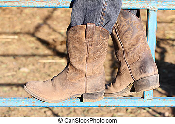 Cobwoy boots - Child cowboy boots standing on a blue gate