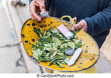 Coca Leaves in Potosi - Coca leaves and cigarettes for sale...