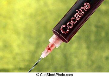 Cocaine addiction syringe concept