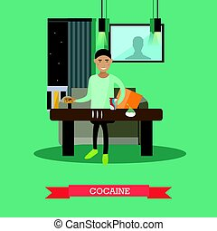Cocaine concept vector illustration in flat style