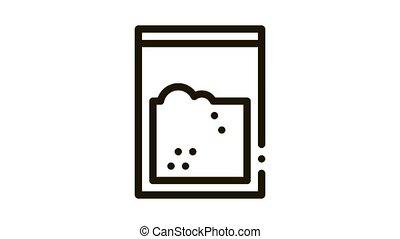 Cocaine Drug Bag Icon Animation. black Cocaine Drug Bag animated icon on white background