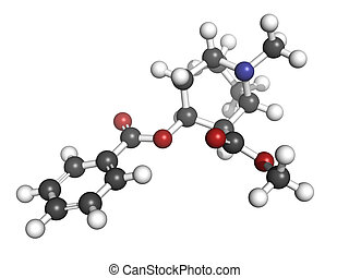 Cocaine drug, molecular model. Atoms are represented as...