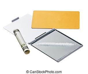 Cocaine lines on mirror with a credit card and rolled bill