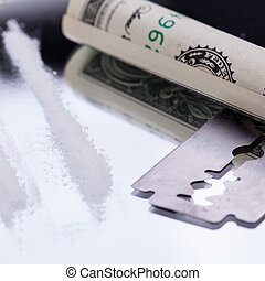 cocaine lines on mirror with razor blade drugs objects macro...