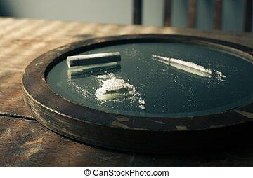 cocaine on a mirror