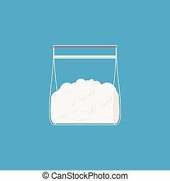 Cocaine plastic bag isolated. Drugs in sachet. Vector illustration
