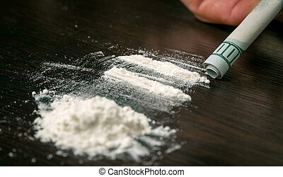 Cocaine powder on the table