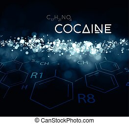 Cocaine powder with the chemical formula. Vector...