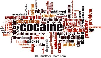 Cocaine word cloud concept. Collage made of words about cocaine. Vector illustration