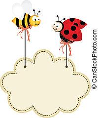 coccinella, ape, nuvola, etichetta