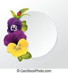 coccinella, fiore, naturalistico, cornice, foglie, viola del pensiero, erba