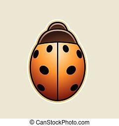 coccinella, illustrazione, vettore, asiatico, arancia, cartone animato, icona