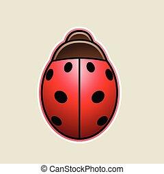 coccinella, illustrazione, vettore, cartone animato, rosso, icona